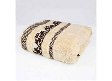 Terry towel BA0005 70x140 baked milk with a pattern