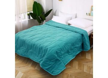 Стеганое покрывало на кровать из микрофибры бирюзовое МІ0022 (200х220)