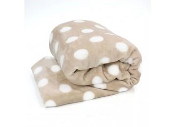 Fleece bedspread Н0164 (200х220) beige with polka dots
