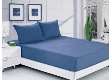 Простынь на резинке ранфорс РЛ 318 Leleka-Textile 160х200 синий