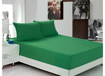 Простынь на резинке Ранфорс РЛ 319 Leleka-Textile 160х200 зеленая