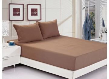Постельное белье ранфорс летнее РЛ311 160х200 + 25 коричневое тм Leleka textile