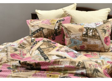 """Bed linen coarse calico gold """"Magazine Pages"""" code: Г0223 double euro"""