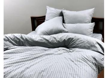 "Постельное бельё страйп-сатин "" Light gray stripe"" код: СТ0309 двуспальное евро"
