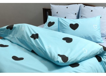 """Bed linen coarse calico gold """"blue heart"""" code: G0204"""