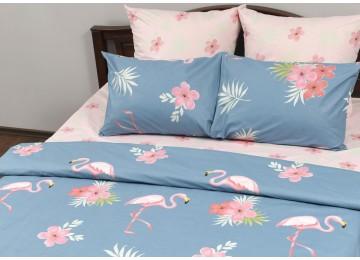 """Постельное белье бязь голд """"Pink flamingo"""" код: Г0250 двуспальное"""