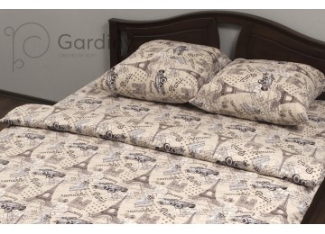 """Bed linen coarse calico gold """"Peach Paris"""" code: G0152 for teenagers"""