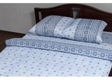 "Bed linen coarse calico gold ""Ornamental blue"" code: G0073 double euro"