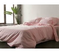 Льняное постельное бельё Розовый №1402, полуторное с простынью на резинке