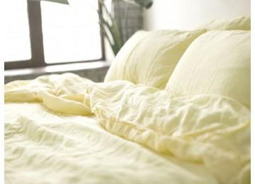 Льняное постельное бельё Ванильный шампань №1403, семейное с простынью на резинке