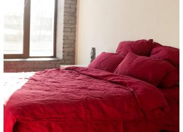 Льняное постельное бельё Бордо №511, евро с простынью на резинке