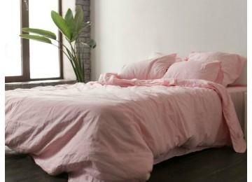 Льняное постельное бельё Розовый №1402, двуспальное с простынью на резинке