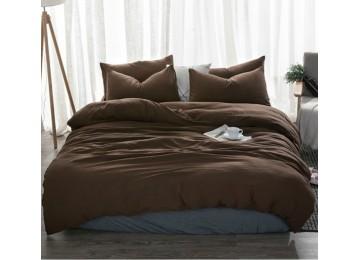 Льняное постельное бельё Темный шоколад №1397, семейное с простынью на резинке
