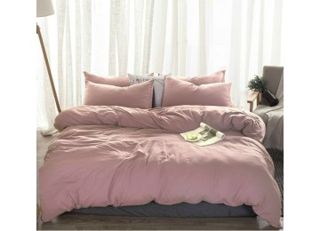 Льняное постельное бельё Пудровый №561, двуспальное