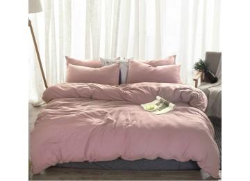 Льняное постельное бельё Пудровый №561, семейное
