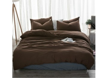 Льняное постельное бельё Темный шоколад №1397, двуспальное