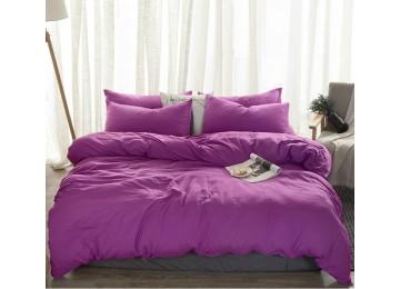 Льняное постельное бельё Сливовый №910, полуторное с простынью на резинке