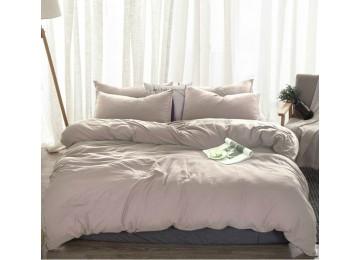 Льняное постельное бельё Пепельно розовый №320, полуторное с простынью на резинке