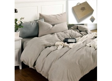 Льняное постельное бельё Бриллиантовый туман, полуторное с простынью на резинке