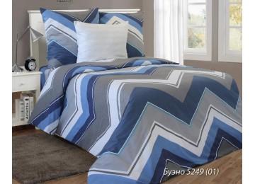Буэно син., бязь белорусская постельное белье с простынью на резинке семейное Комфорт текстиль