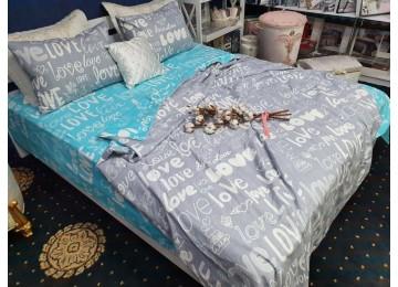 Постельное белье фланель Лирика микс, двуспальное с резинкой Комфорт текстиль