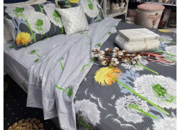 Постельное белье фланель Абсолют, двуспальное с резинкой Комфорт текстиль