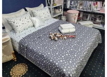 Постельное белье фланель Мерцание звёзд, семейное с резинкой Комфорт текстиль
