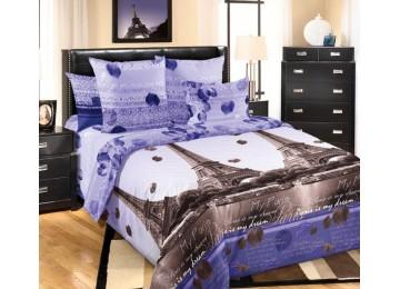 Постельное белье перкаль Романтика Парижа, семейное на резинке Комфорт текстиль