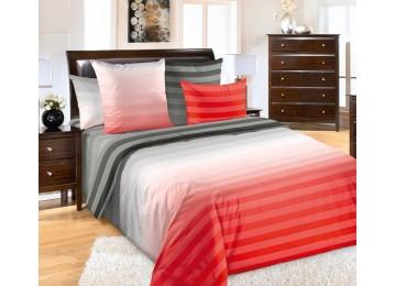 Постельное белье перкаль Туманное утро красн., полуторное с резинкой Комфорт текстиль
