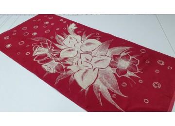 Полотенце Речицкий текстиль махровое Ирисы (красный) банное 67x150см