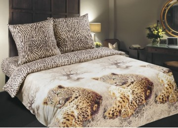 Постельное бельё Леопарды, поплин (Семейный)
