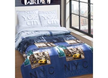 Постельное белье поплин Нью-Йорк Сити, двуспальное на резинке