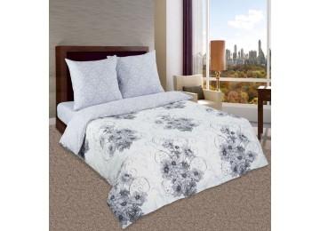Лунная соната, поплин постельное белье с простынью на резинке семейное Комфорт текстиль