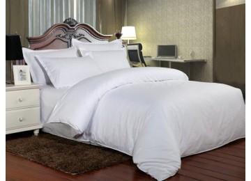 Постельное белье страйп-сатин PREMIUM, WHITE полуторное с резинкой Комфорт текстиль