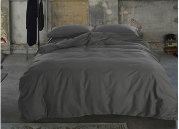 Постельное белье сатин люкс DARK GREY, №240 двуспальное с резинкой Комфорт текстиль