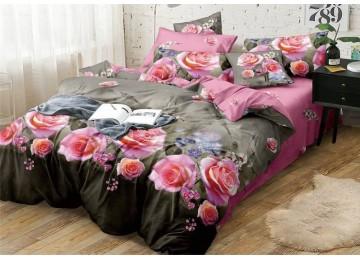 Розалия, сатин постельное белье с простынью на резинке семейное Комфорт текстиль
