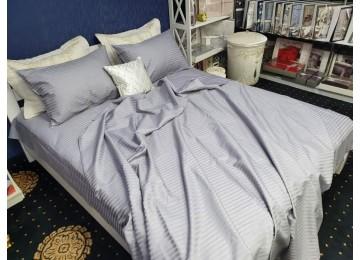 Постельное белье страйп-сатин PREMIUM, LIGHT GRAY евро с резинкой Комфорт текстиль