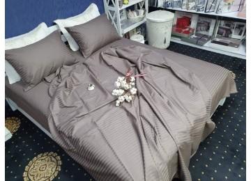Постельное белье страйп-сатин PREMIUM, CACAO полуторное с резинкой Комфорт текстиль