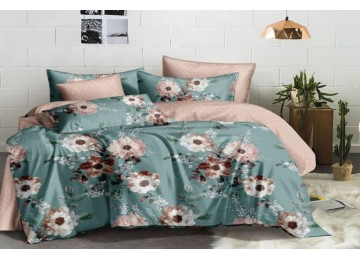 Постельное белье сатин Пион, двуспальное с резинкой Комфорт текстиль
