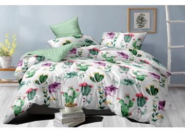 Постельное белье сатин Цветущий кактус, двуспальное на резинке тм Комфорт текстиль