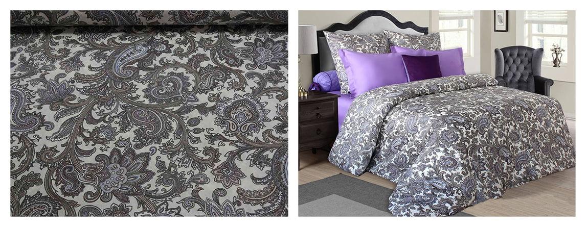 Постельное белье из фиолетовой ткани бязь голд с компаньоном