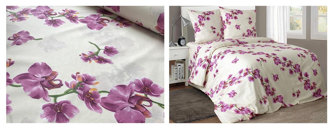 Постельное белье из ткани молочного цвета с орхидеями