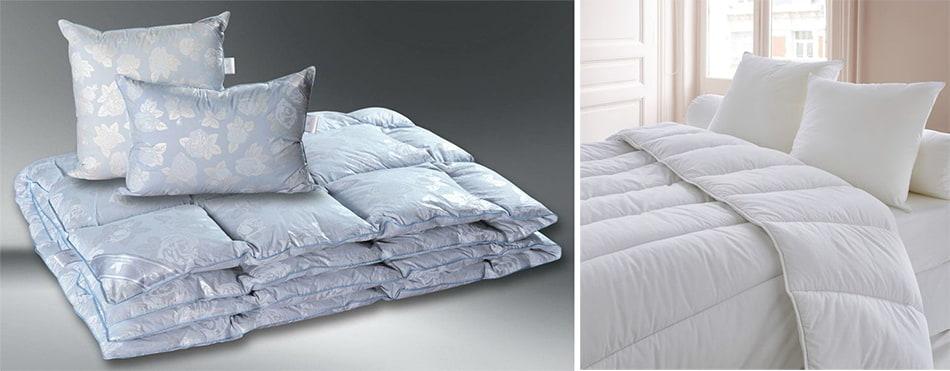 Комплект одеяло и подушки голубого цвета