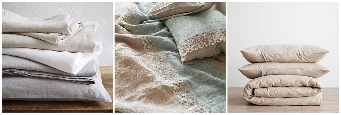 Льняное постельное белье пастельных оттенков