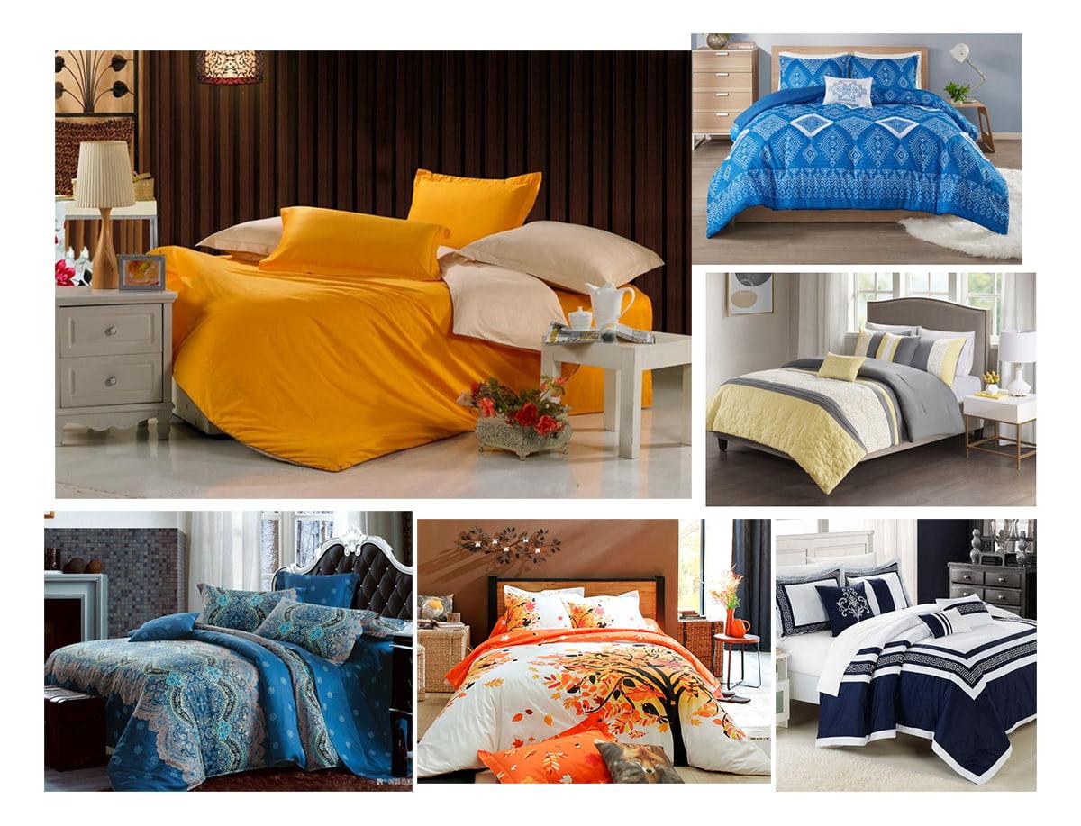Постельное бельё голубого, оранжевого, белого цветов