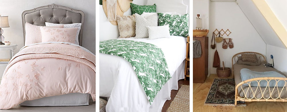 One and a half bed linen in pink, green and brown