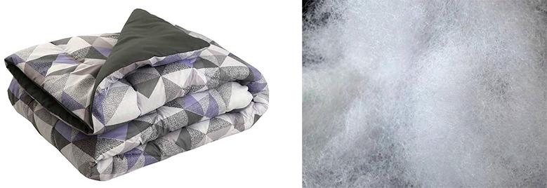 Силиконовое волокно и одеяло серое