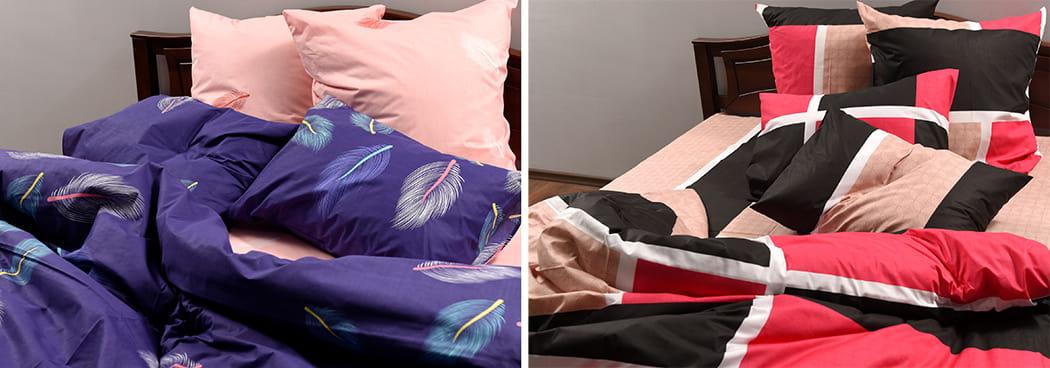 Бязь голд состав ткани- постельное белье из бязи голд синего и красного цветов
