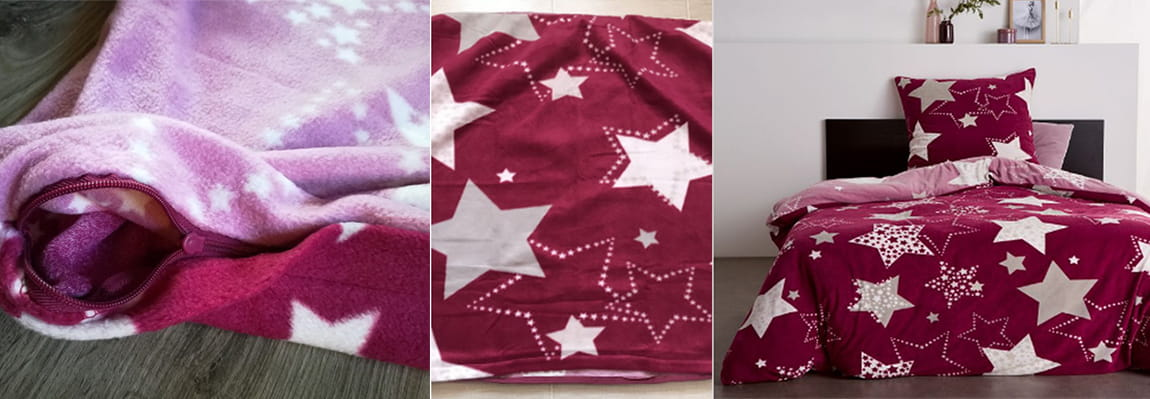 Флисовая ткань это- постельное белье флисовое бордовое в звезды